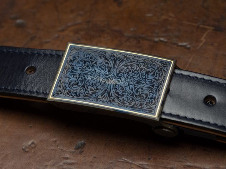 Ferrum And Hide Hand engraved large scroll belt buckle with gold line